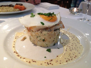 Cafe Des Amis London Smoked haddock, crashed parsley potatoes, grain mustard beurre blanc, fried egg