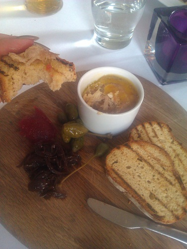 Pork and rabbit rillette, red onion marmalade, gooseberry jam, toast