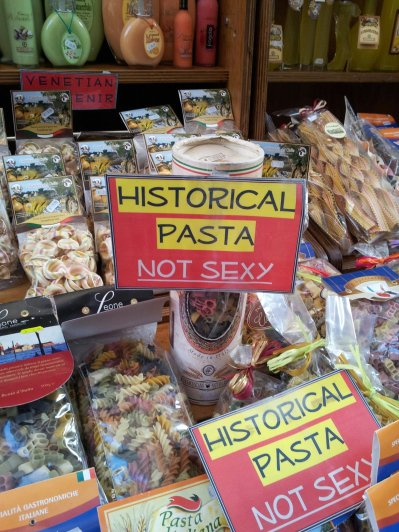 "'Historical Pasta - Not Sexy' - apparently penis shaped pasta is a ""traditional"" Italian pasta shape..."