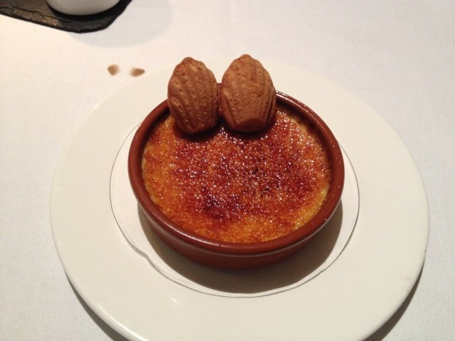 creme brulee with madelines, at Coq d'Argent