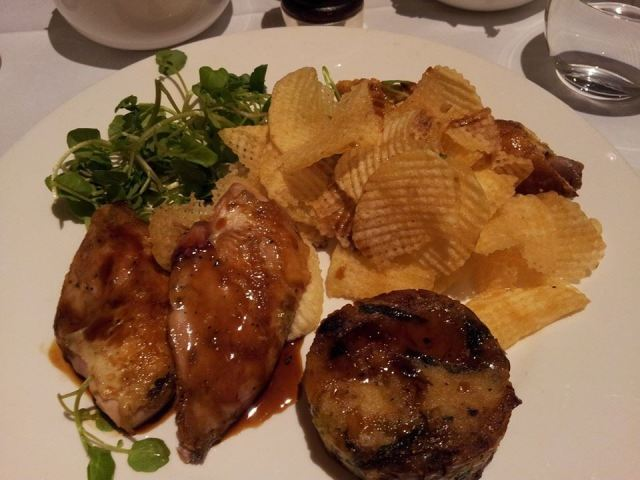 Partridge, bubble&squeak, hand-cooked crisps, fois gras, at Coq d'Argent