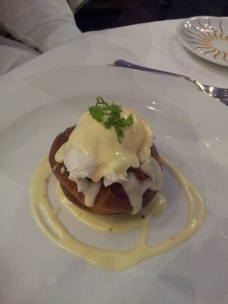 Poached egg on brioche bun at Caravaggio, London