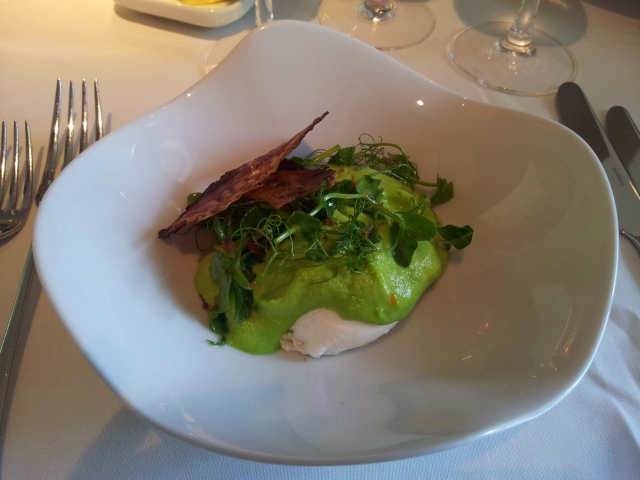 Chilled pea espuma, warm poached hen's egg, pancetta & pea cress