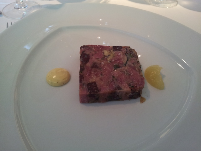 Ham hock terrine, black pudding & apple puree