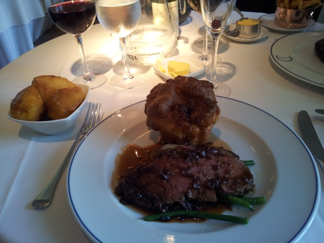 Roast air hung sirloin of beef, roast potatoes, red cabbage, green beans & red win jus