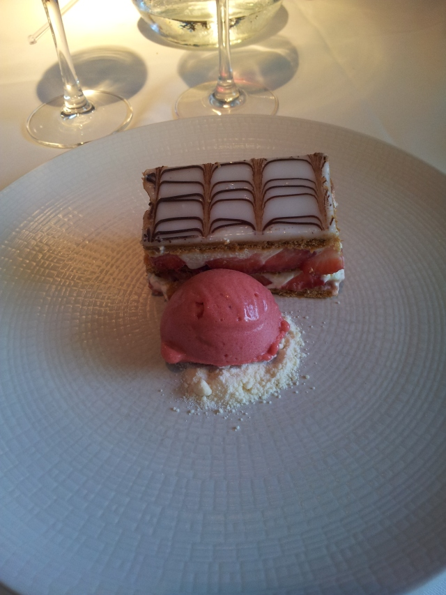 Strawberry mille-feuille with wild strawberrysorbet