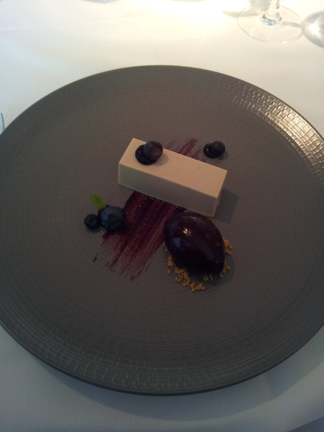 Walnut coffee panacotta, blueberry gel & fresh blueberries, blueberry & maple syrup sorbet